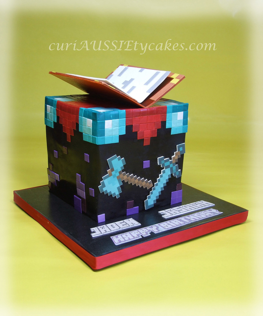 Minecraft Quot Enchantment Table Quot Birthday Cake Cakecentral Com