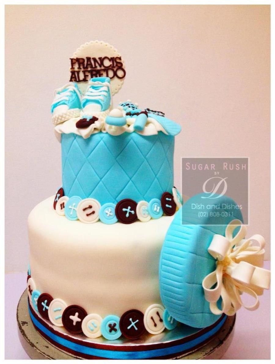 Baptism Blue Brown on Cake Central