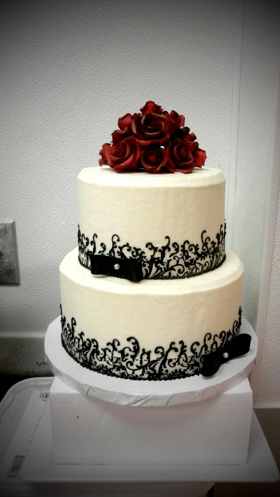 Red White Black Wedding Cake - CakeCentral.com