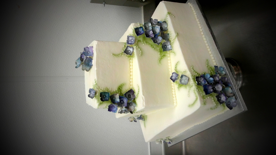 Hydrangeas Wedding Cake  on Cake Central