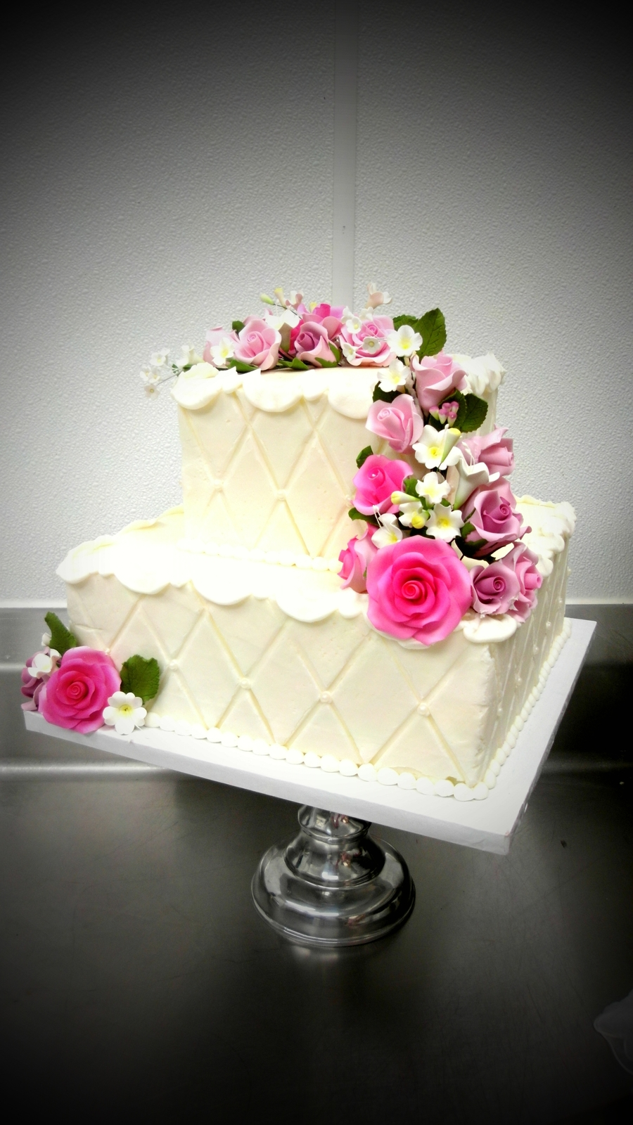 Floral Square Wedding Cake on Cake Central