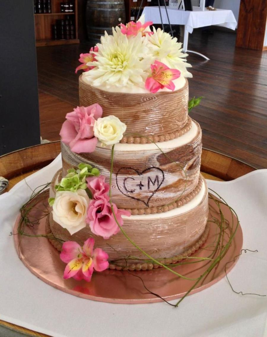 wood wedding cake wood grain wedding cake with and grooms initials 27618