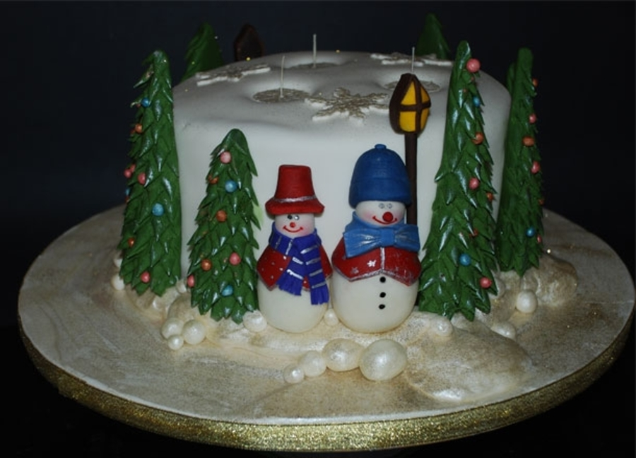 3 Wick Christmas Candle Cake on Cake Central
