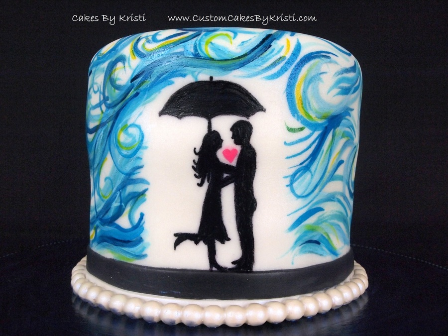 Hand Painted Love In The Rain on Cake Central