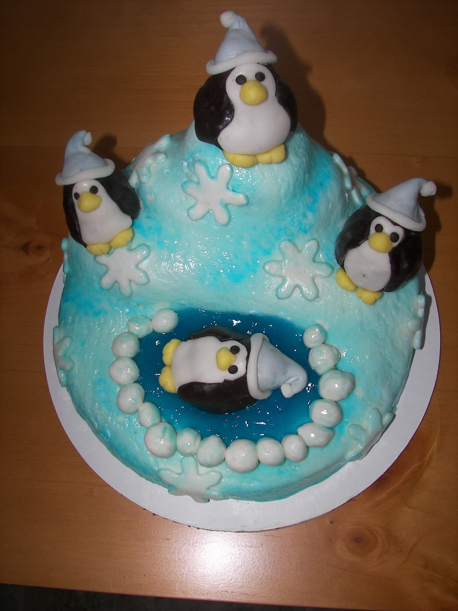 Winter Penquin Cake  on Cake Central