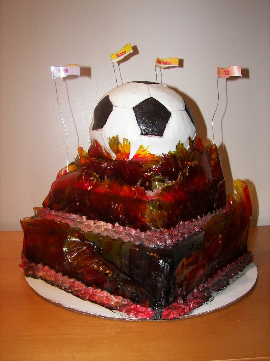 Flaming Balls Of Soccer on Cake Central