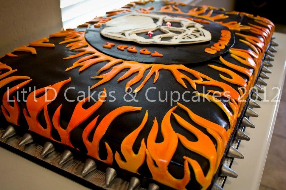 Bikerskull Fire Themed Birthday Cake Cakecentral