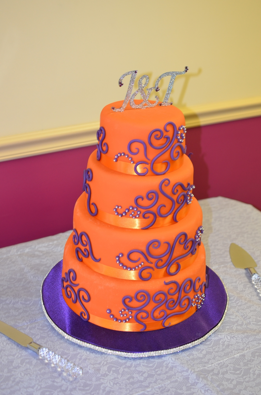purple and orange wedding cake ideas orange and purple wedding cake cakecentral 18864