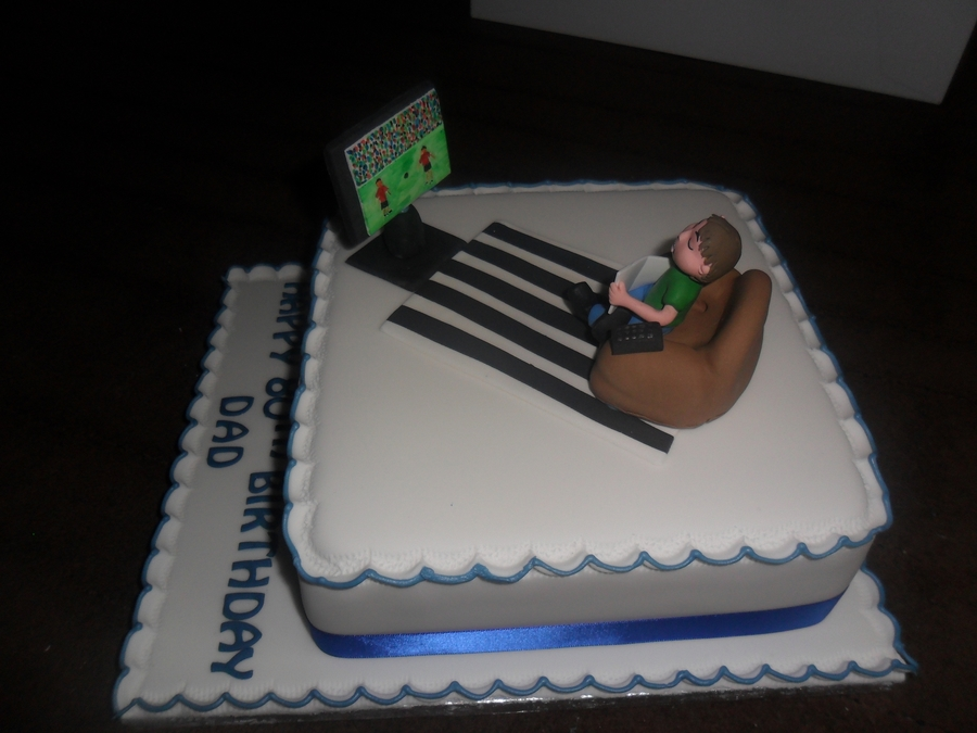 Man On Sofa Watching Tv Birthday Cake Cakecentral Com