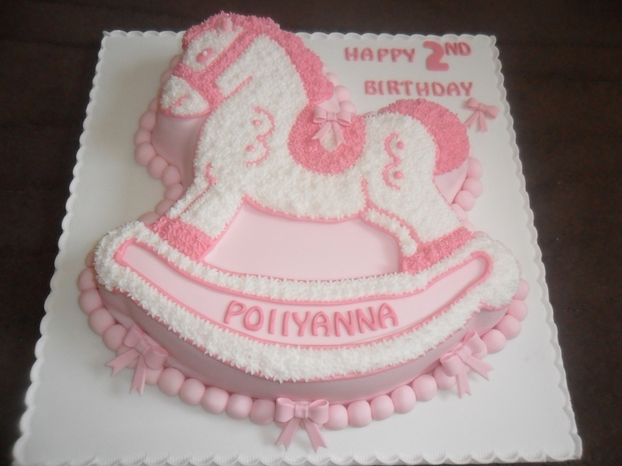 Pink White Rocking Horse Birthday Cake Cakecentral