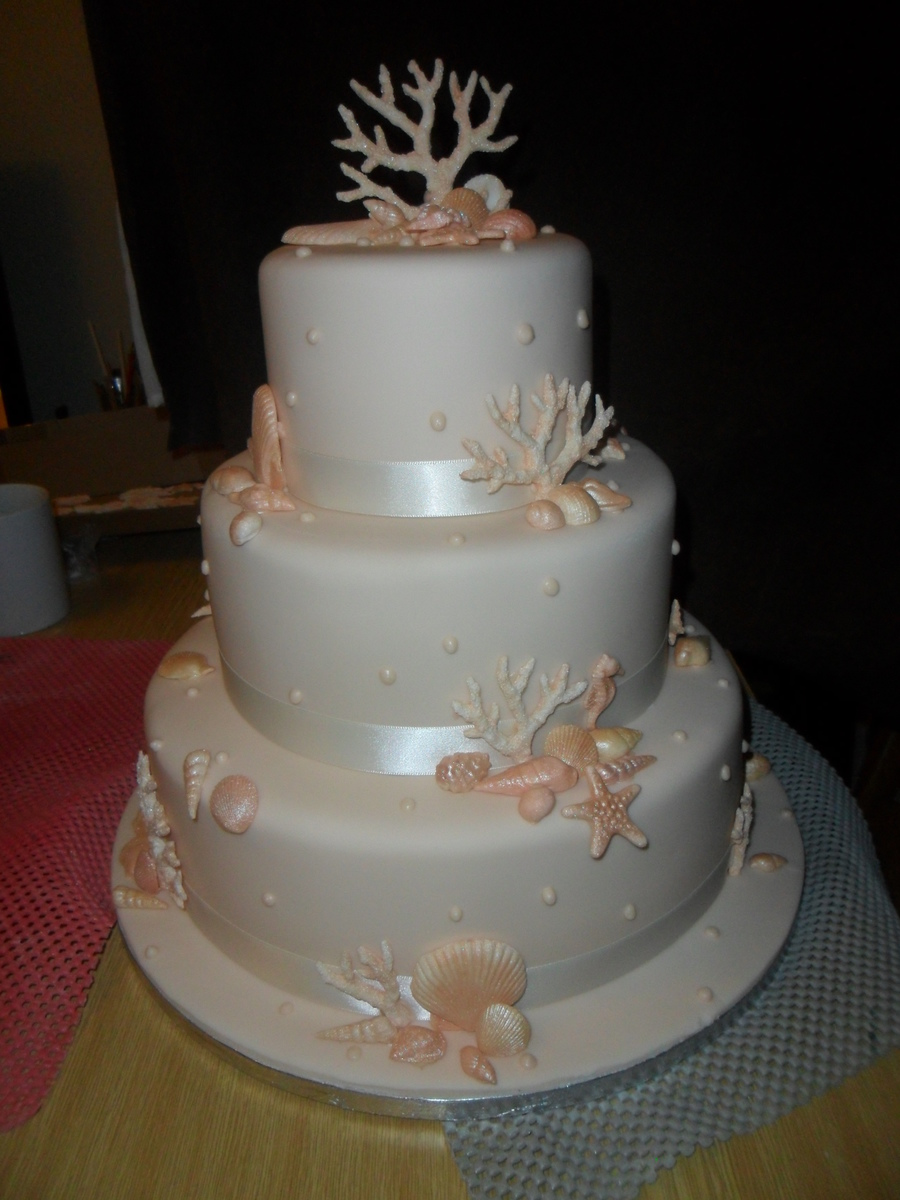 Sea Shells Coral 3 Tier Wedding Cake on Cake Central