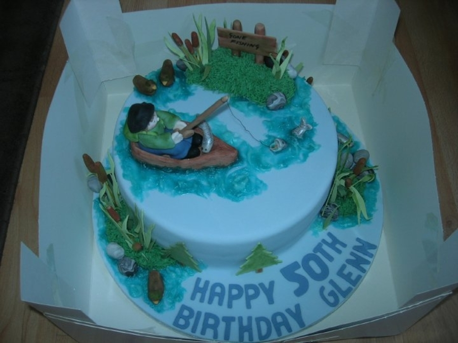 Fishing On A Lake Birthday Cake on Cake Central
