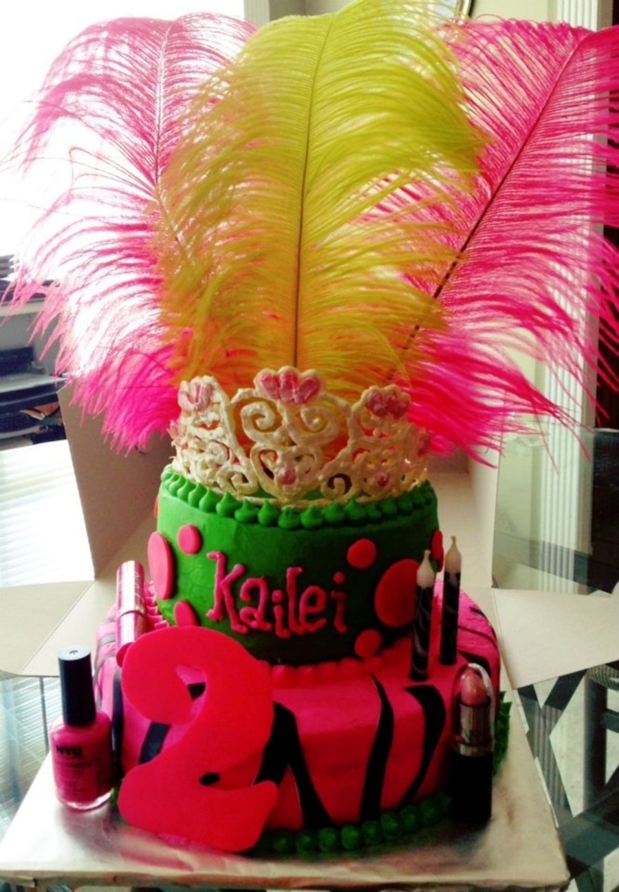 Makeup And Feathers With Tiara on Cake Central