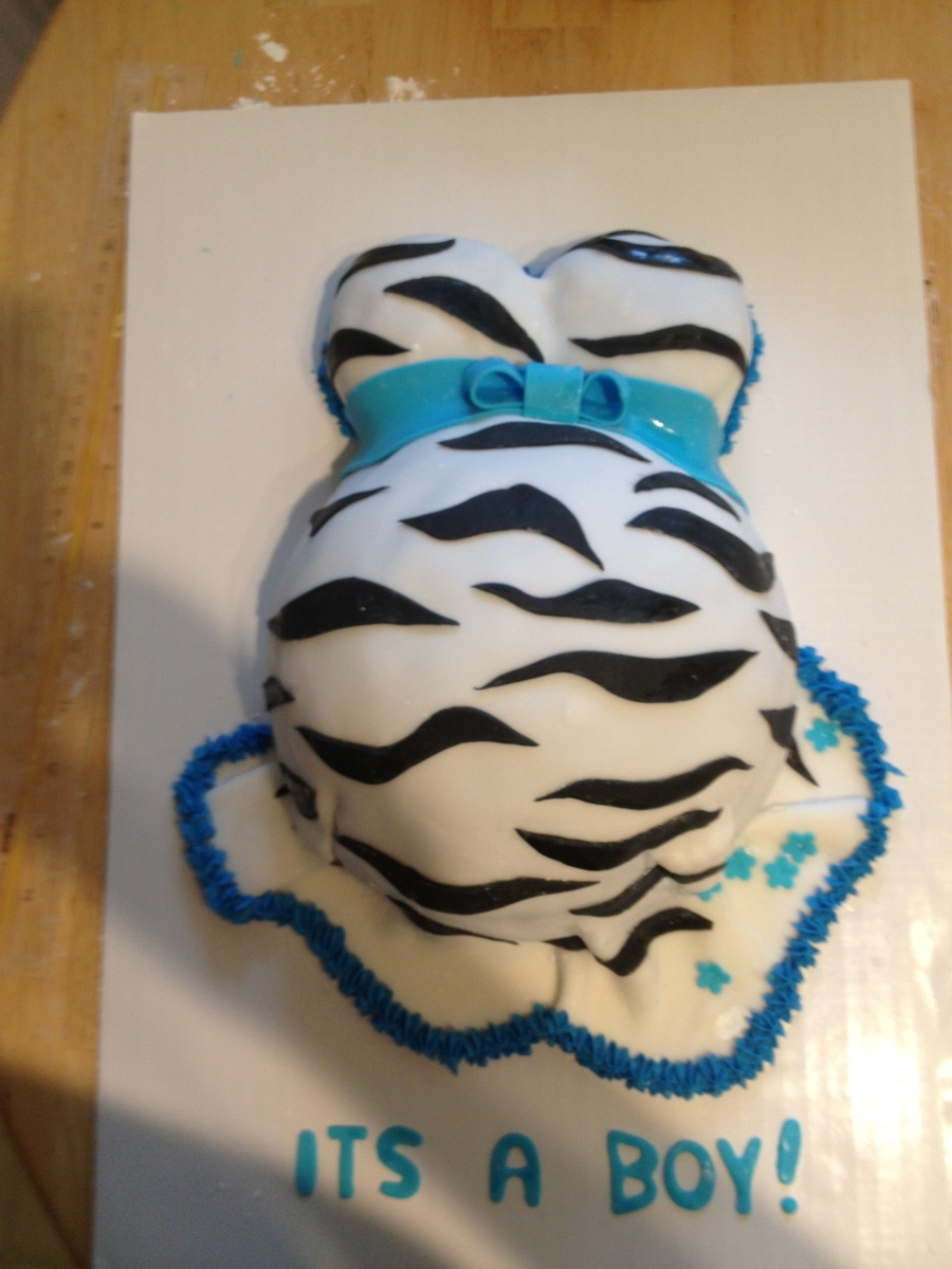 It's A Boy Preggo Belly Cake on Cake Central