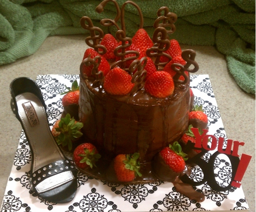 Bday Cake With Shoe And Strawberries  on Cake Central