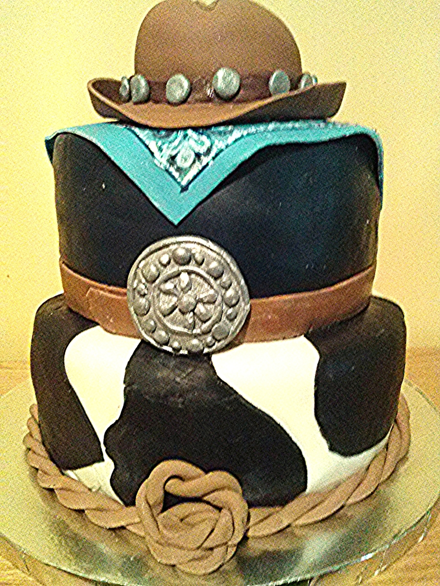 Cowboy Themed Birthday Cake With Cowboy Hat Bandanna Belt Wbuckle And Lassoall Fondantcowboy Hat Is A Mini Cake Covered In Fondant on Cake Central