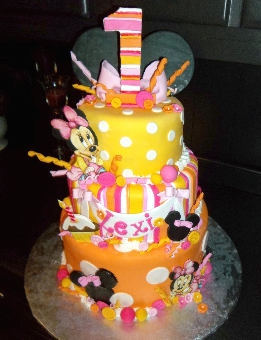 Remarkable Baby Minnie First Birthday Cake Cakecentral Com Personalised Birthday Cards Veneteletsinfo