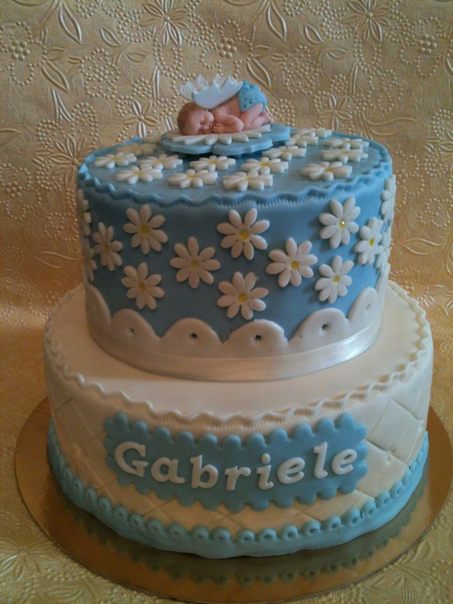 Baptism Baby Boy Cake  on Cake Central