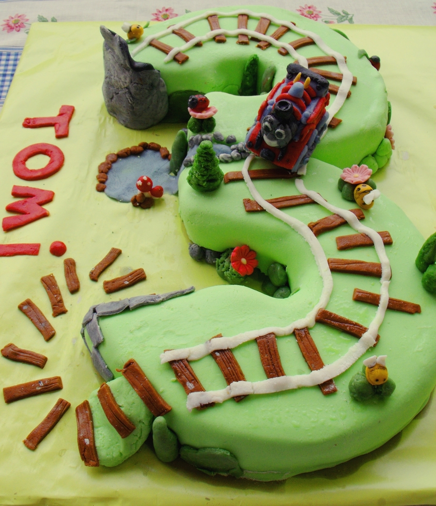 Thomas Cake For A 3 Year Old Boy Thomas Itself Is Made Of Marzipan on Cake Central