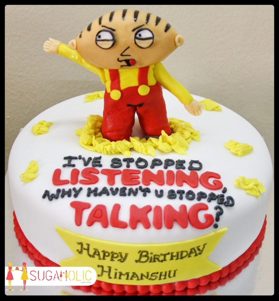 Wondrous Stewie Family Guy Cake Cakecentral Com Personalised Birthday Cards Veneteletsinfo