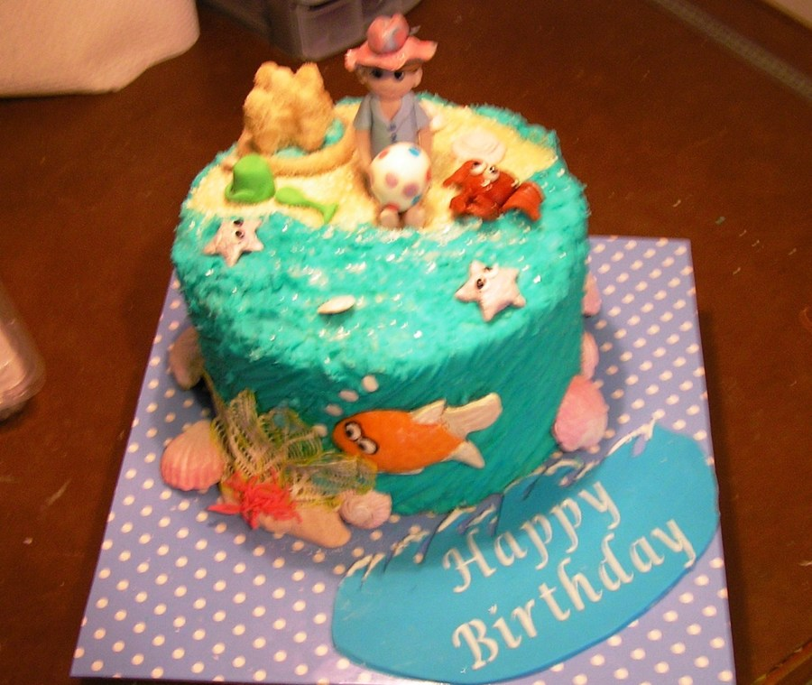 Fantastic Beach Themed Surprise Inside Birthday Cake Cakecentral Com Funny Birthday Cards Online Unhofree Goldxyz
