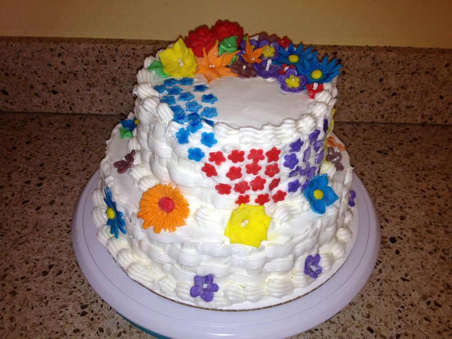 Basket Weave With Flowers  on Cake Central