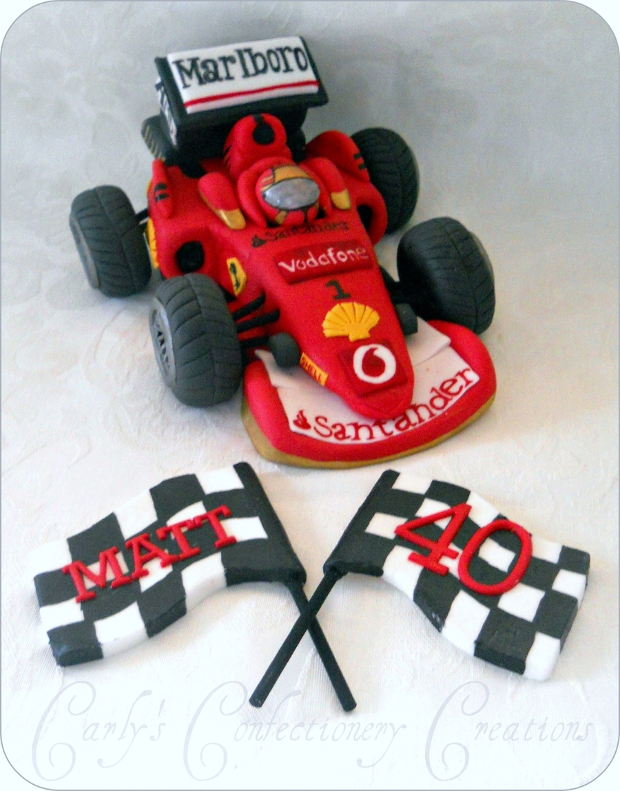 Edible Handcrafted Formula Ferrari Racing Car Cakecentral Com