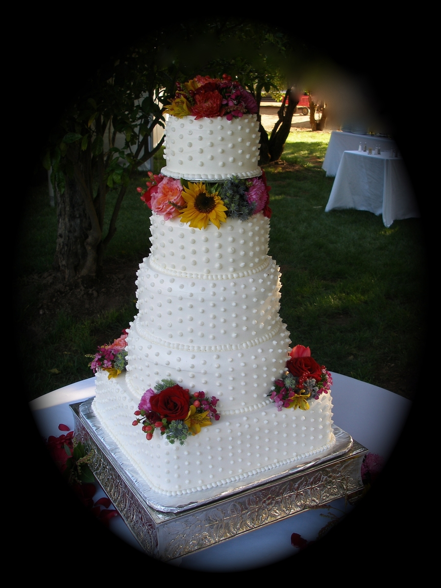Hobnail Wedding Cake  on Cake Central