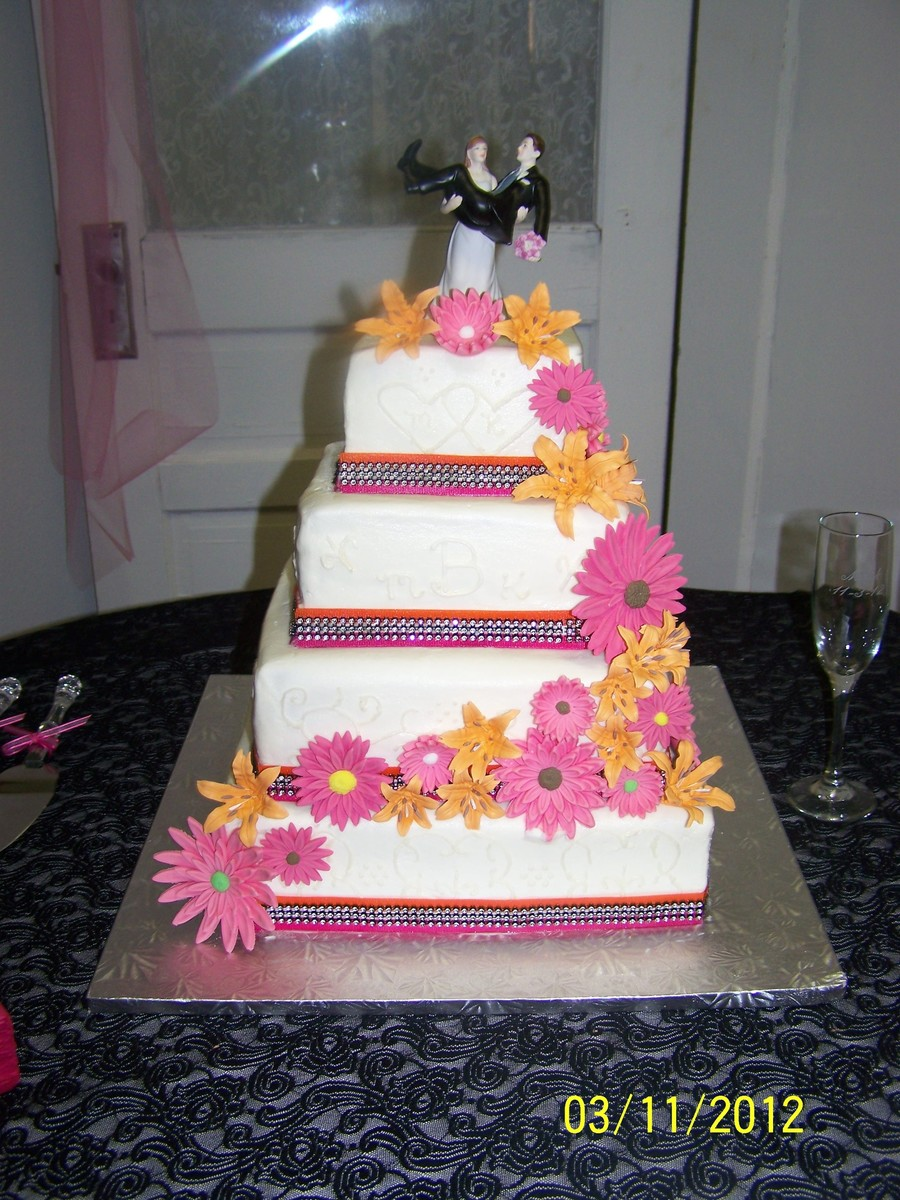 French Vanilla And Chocolate Tiers Buttercream Frosting Orange Lilies And Pink Daisies on Cake Central