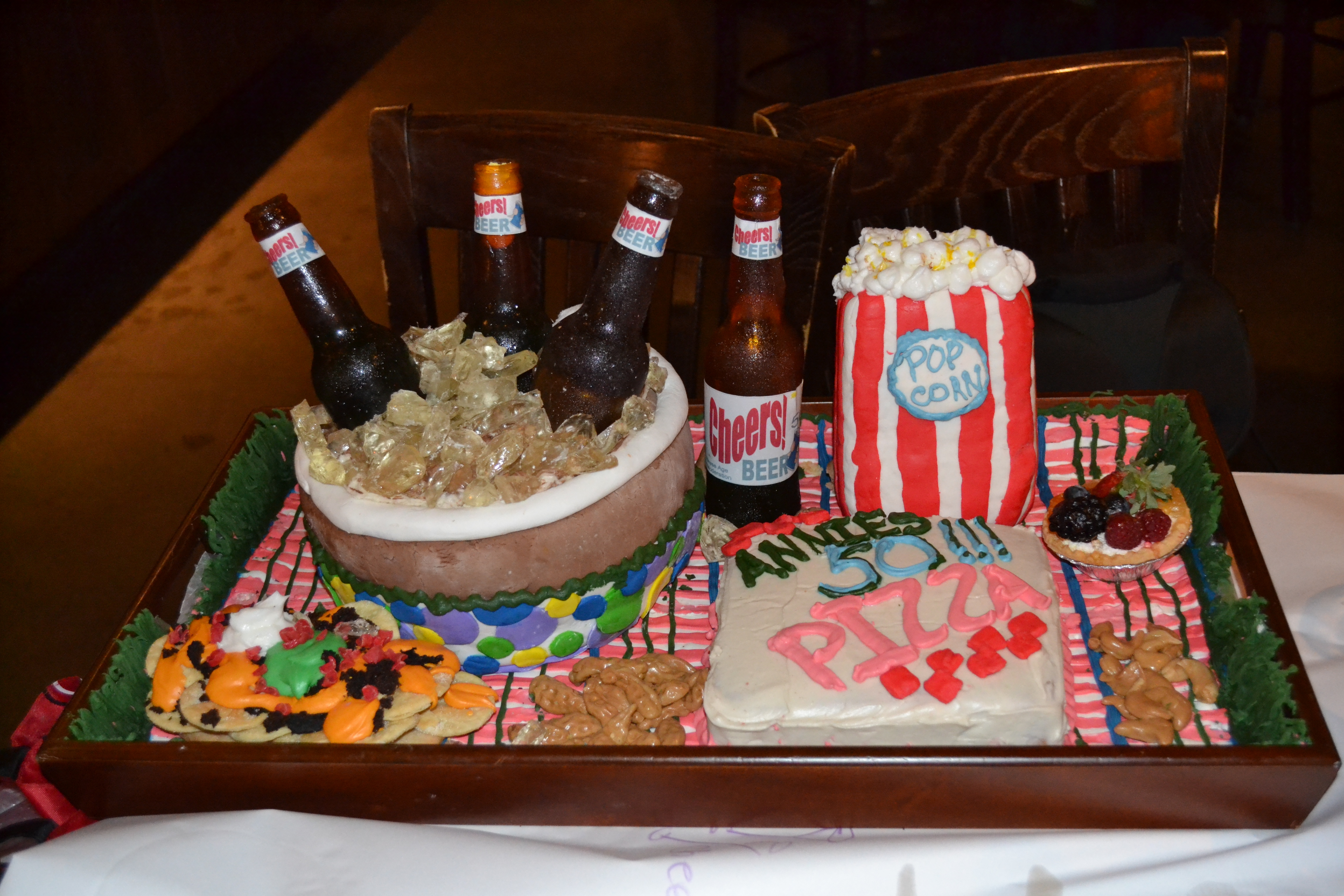 A Birthday Cake That I Made For My Friend Ann Bottles And Ice Are