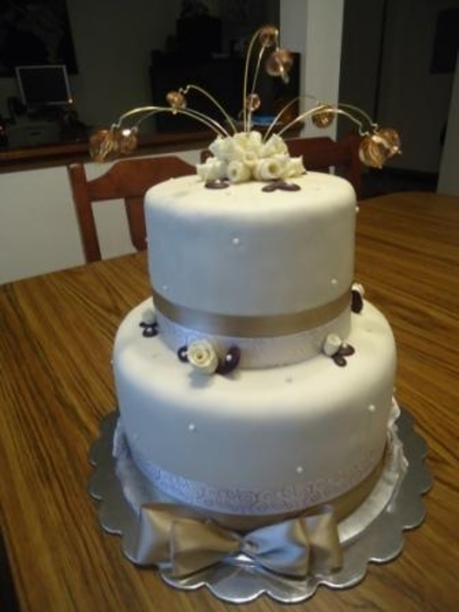 Beige Crystal Spray Wedding Cake on Cake Central