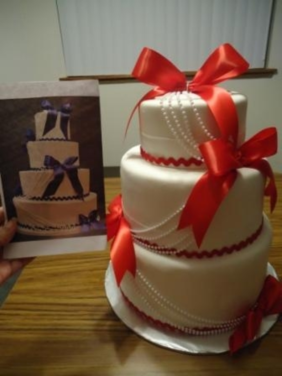 Red Ribbon Wedding Cake on Cake Central