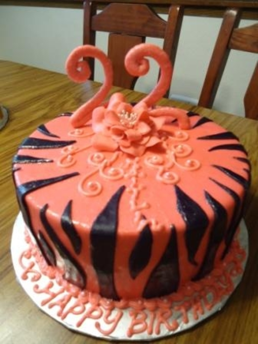22 Pink Zebra Birthday Cake  on Cake Central