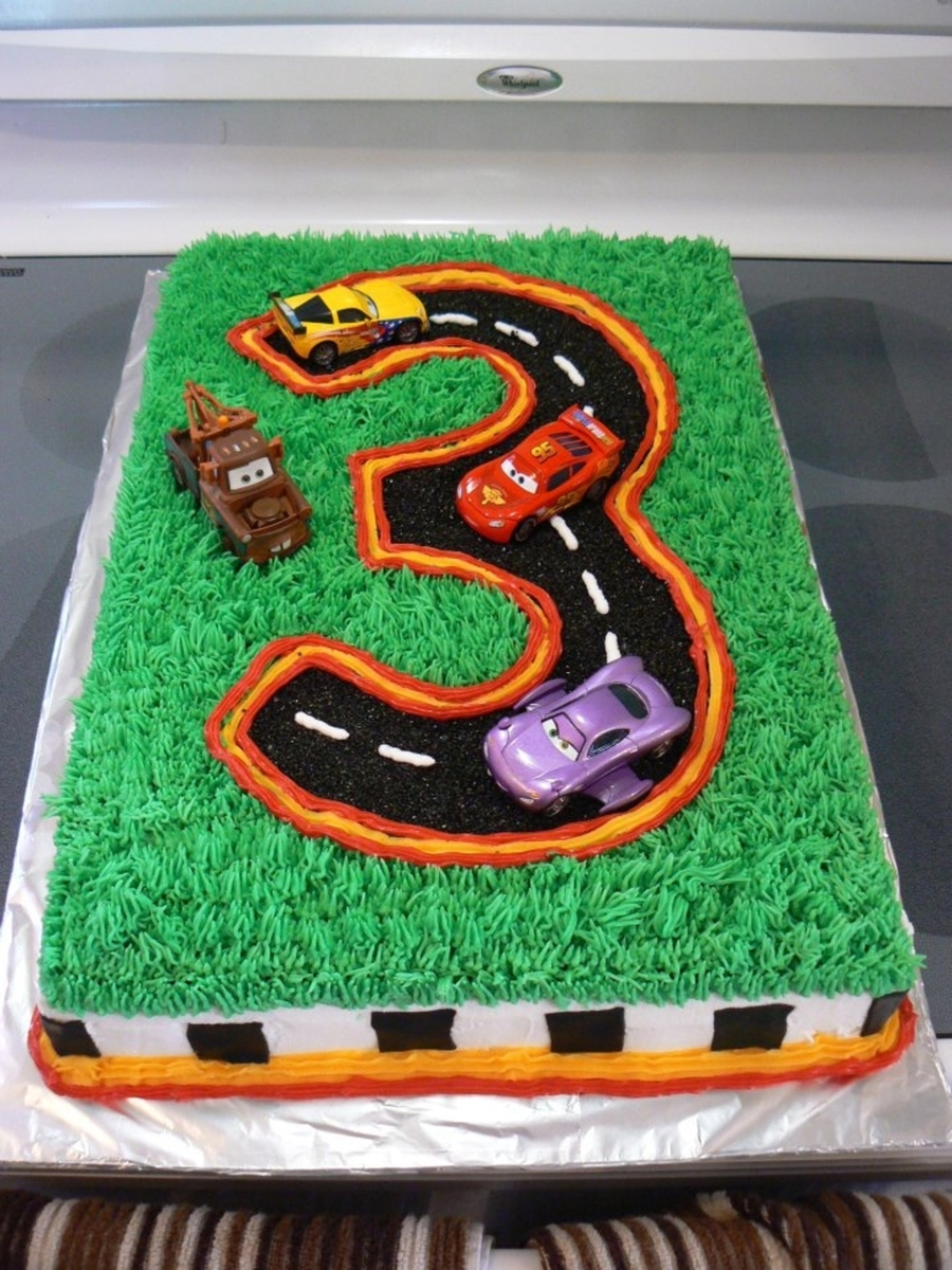 Number Three Cake With Mcqueen Cars Cakecentral Com