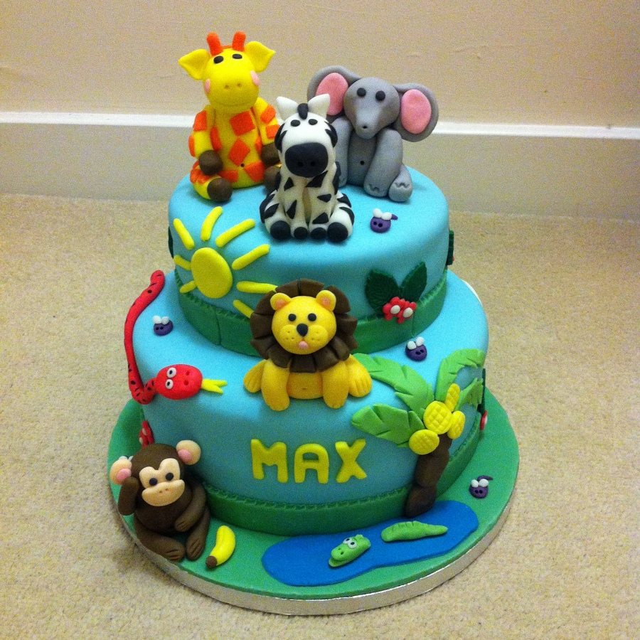 two-tier jungle animals birthday cake