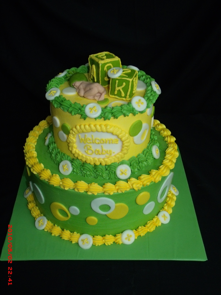 Lime Green And Yellow Baby Shower Cake Cakecentral Com