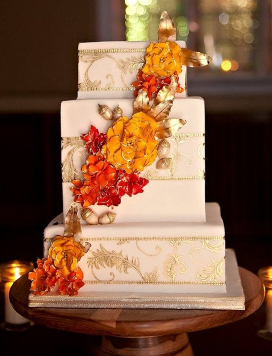 square wedding cakes with fall flowers autumn wedding cake cakecentral 20419