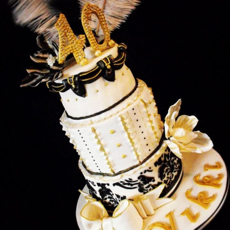 Miraculous 3 Tier Cream Black And Gold Birthday Cake Cakecentral Com Funny Birthday Cards Online Alyptdamsfinfo