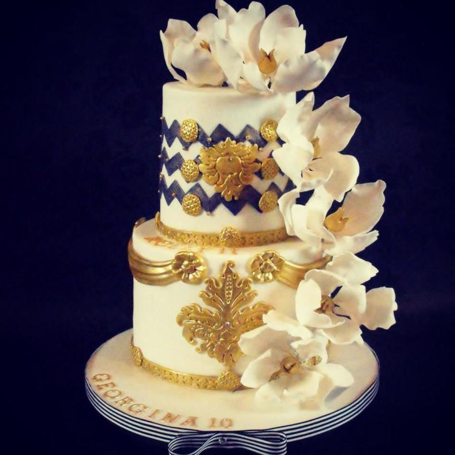 2 Tier Blue, White And Gold Birthday Cake - CakeCentral.com