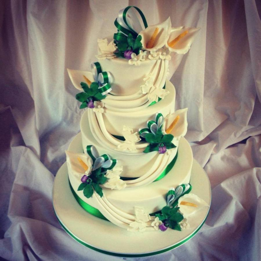 Calla Lily And Japanese Orchid 4 Tier Wedding Cake - CakeCentral.com