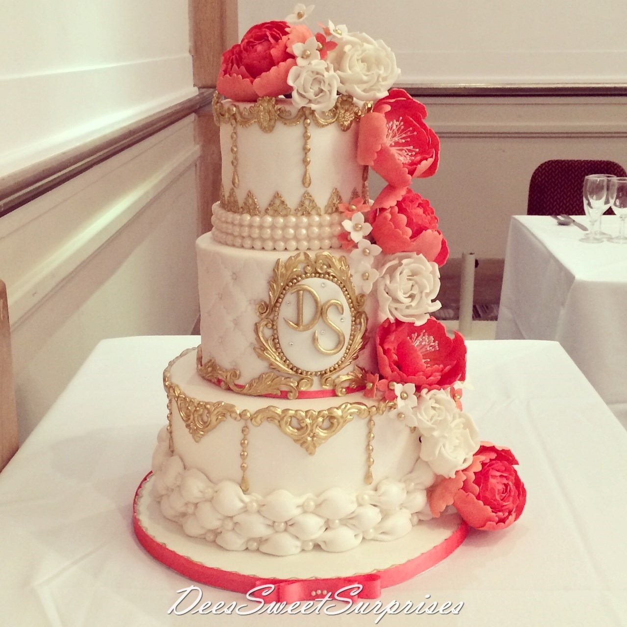 Ivory Coral And Gold Wedding Cake Cakecentral Com