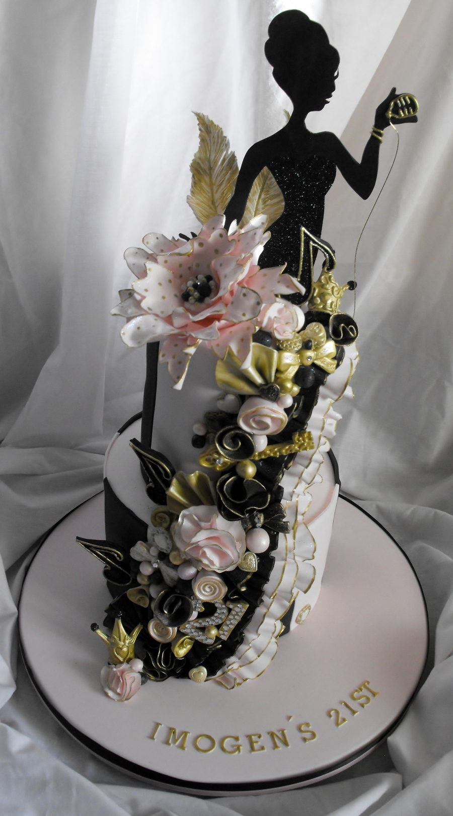 Black And Gold  Tier St Birthday Cake