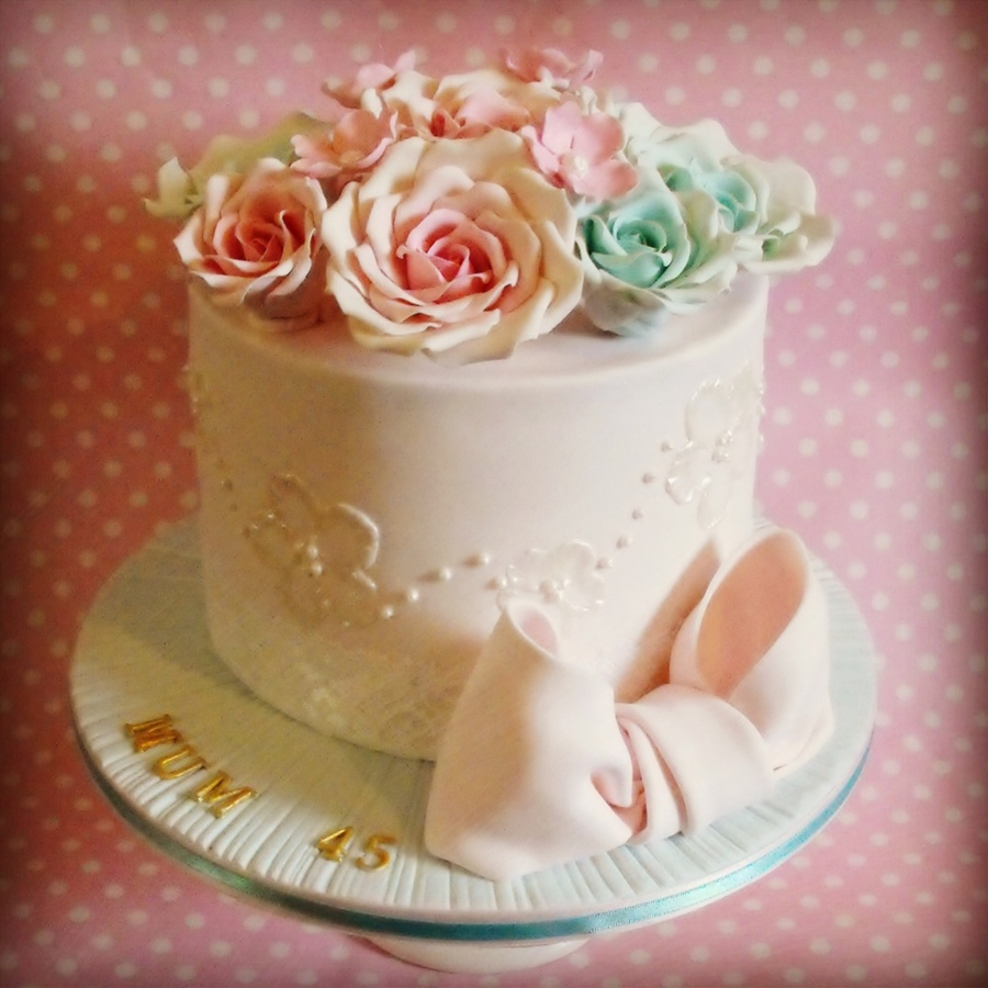 Pretty Brush Embroidery And Vintage Rose Birthday Cake CakeCentralcom