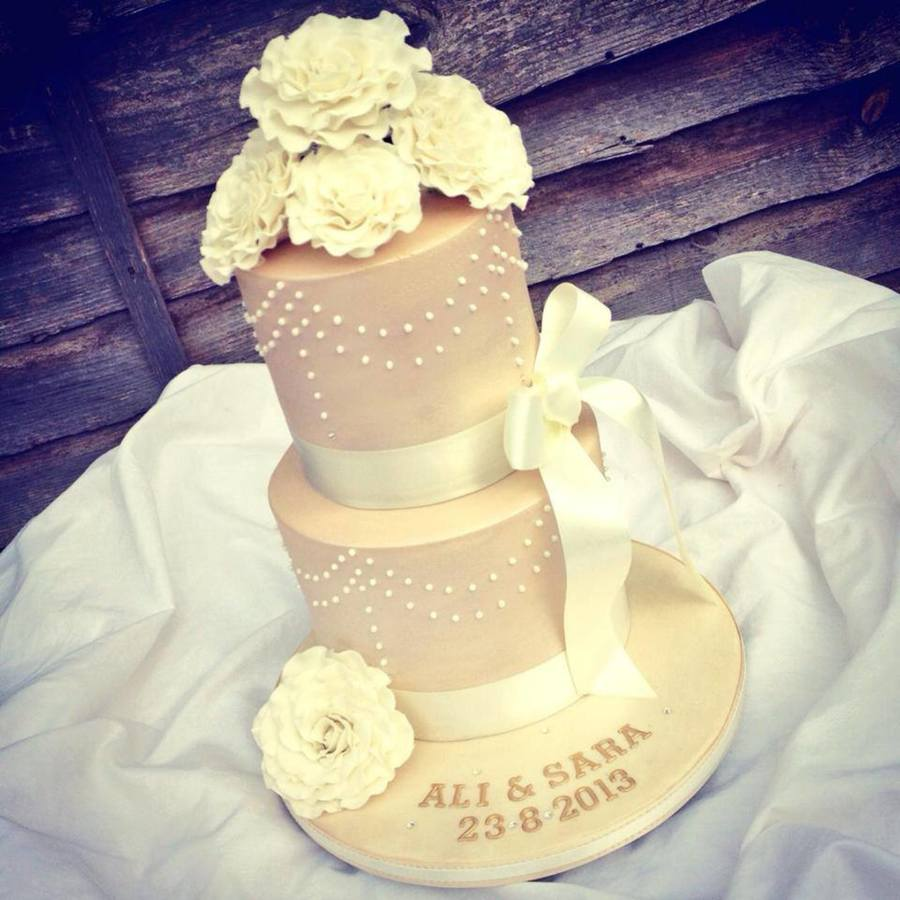Ivory, Champagne And Roses Wedding Cake - CakeCentral.com