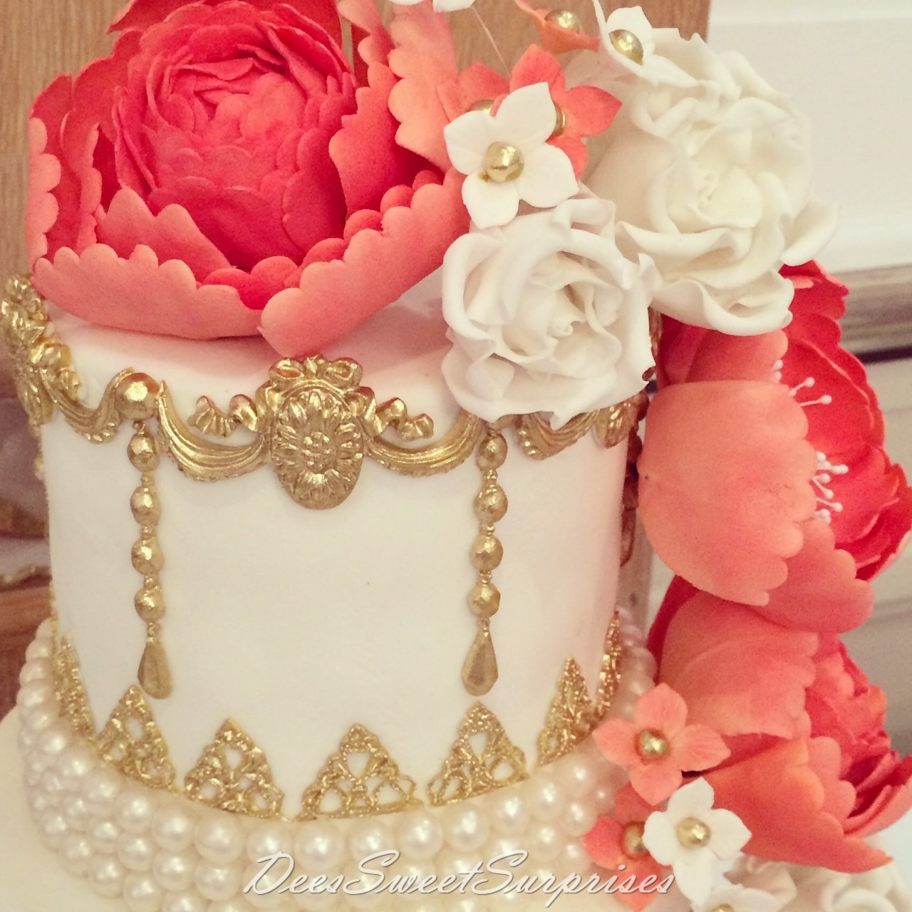 Ivory Coral And Gold Wedding Cake CakeCentral
