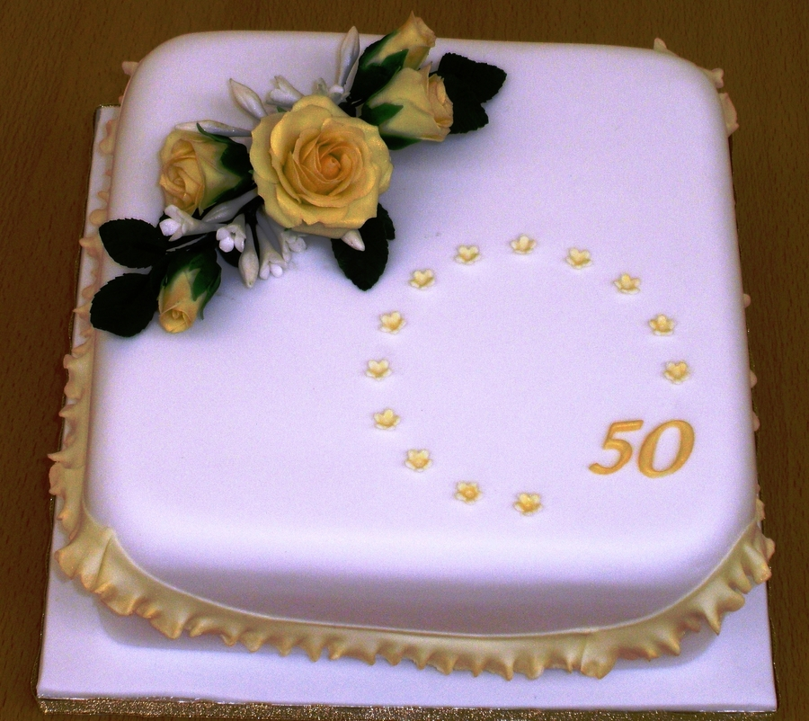 Golden Anniversary  on Cake Central