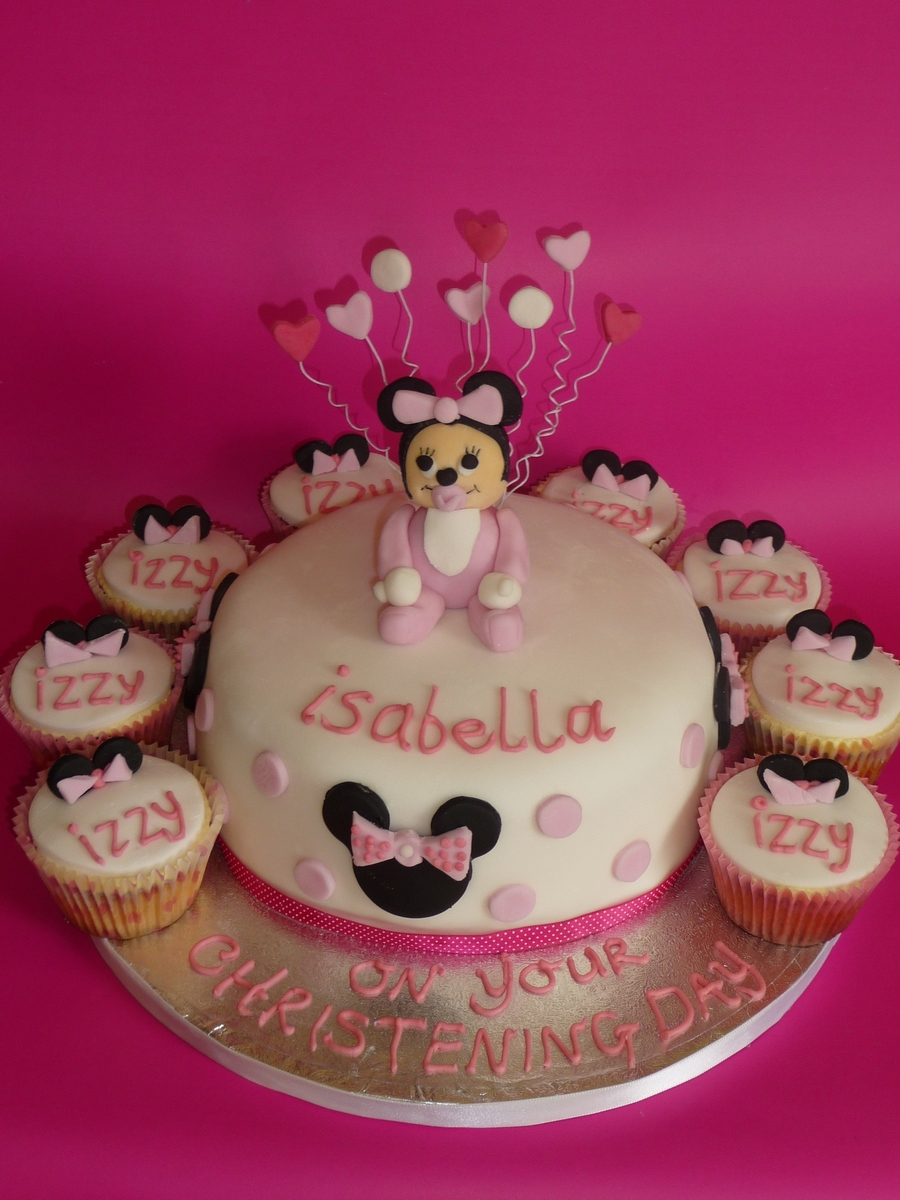Minnie Mouse Christening Cake on Cake Central