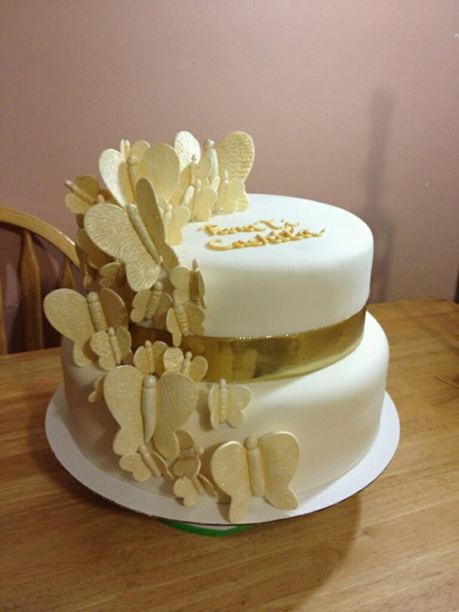 Gold Butterflies  on Cake Central