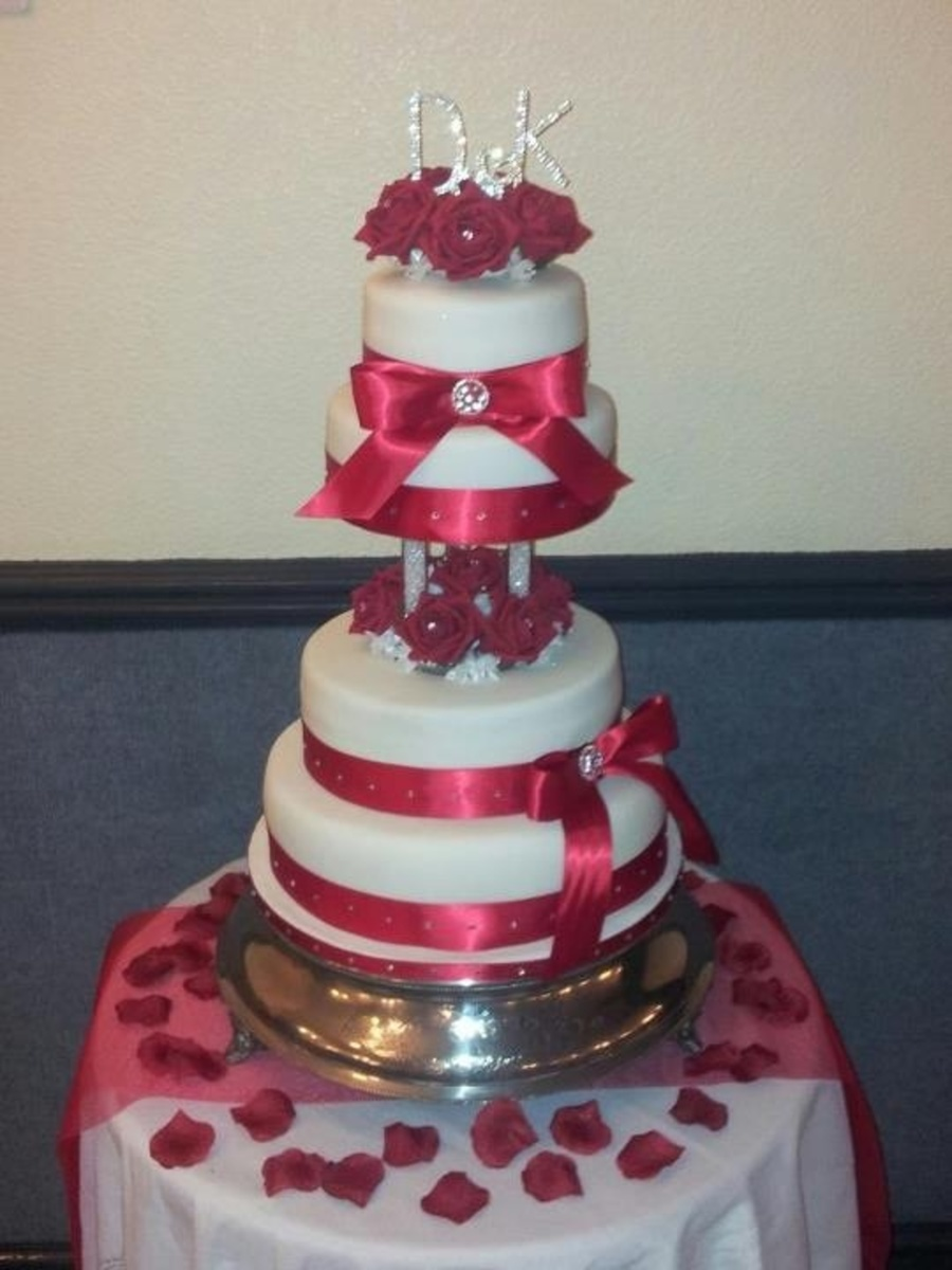 Red Rose Wedding Tiered Cake on Cake Central