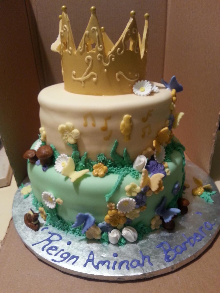 Musical Enchanted Garden 1st Birthday Cake W Smash Cake